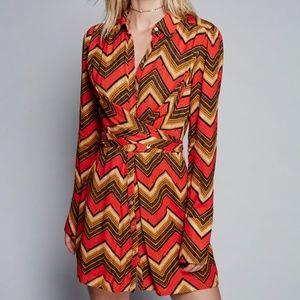 Free People Alistair Shirt Dress Golden Rod Combo